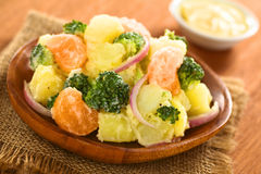 Potato Broccoli Mandarin Salad Royalty Free Stock Photography