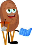 Potato with a broken leg walking on crutches Royalty Free Stock Photography
