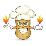 Potato - burn. Chef potato angry he has fire on his hands Royalty Free Stock Photo