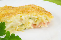 Potato cake with ham and cheese Royalty Free Stock Images