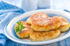 Potato cakes. On a plate stock photo