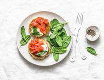 Potato cakes with smoked salmon, sour cream and spinach on a light background, top view. Delicious snack, tapas stock photography