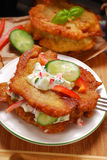 Potato cakes with vegetable and mayonnaise sauce Stock Images
