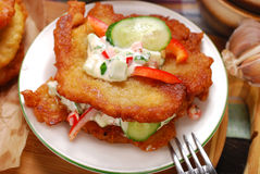 Potato cakes with vegetable and mayonnaise sauce Stock Image