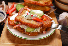 Potato cakes with vegetable and mayonnaise sauce Royalty Free Stock Photo