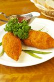 Potato and carrot cutlets with tomato sauce Royalty Free Stock Images