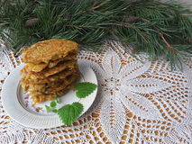 Potato carrot with pine needles fritters. Cooking vegetarian healthy food with pine needles royalty free stock image