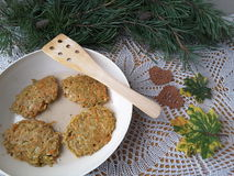 Potato carrot with pine needles fritters. Cooking vegetarian healthy food with pine needles stock images