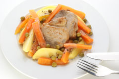 Potato with carrot and pork chops Stock Photos
