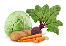 Potato and carrot ring chopped, one red beet root, cabbage stock images