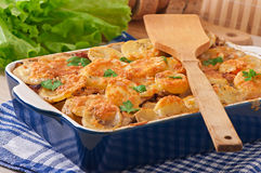 Potato casserole with meat and mushrooms Stock Image