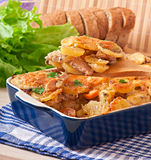 Potato casserole with meat and mushrooms Royalty Free Stock Photo