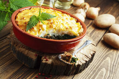 Potato casserole with meat and nettle Stock Images