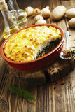 Potato casserole with meat and nettle Royalty Free Stock Images