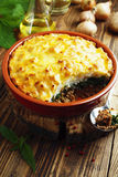 Potato casserole with meat and nettle Royalty Free Stock Photos