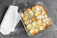 Potato casserole with vegetables and herbs, spices, top view Royalty Free Stock Photography