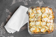 Potato casserole with vegetables and herbs, spices, top view Stock Image