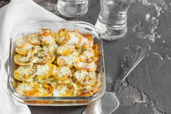 Potato casserole with vegetables and herbs, spicy spices, scapul Royalty Free Stock Photos
