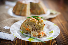 Potato casserole with vegetables inside Royalty Free Stock Photography