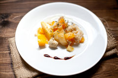 Potato with cauliflower and pumpkin. Tasty organic dinner with pumpkin and potato Stock Image
