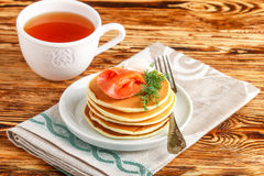 Potato and cheese pancakes with salted red fish cream cheese and dill. Breakfast Royalty Free Stock Image