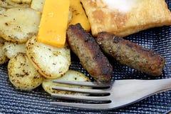 Potato Cheese Sausage Fork Up Close Stock Photos