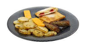 Potato Cheese Sausage On Plate Royalty Free Stock Photo