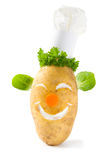 Potato chef. A cheery potato with a clown like vegetable face smiling happily and wearing a chef's hat Stock Photography