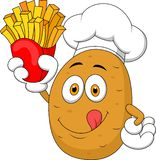 Potato Chef cartoon Holding Up A French Fries Stock Photo