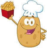 Potato Chef Holding Up A French Fries Stock Photos