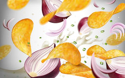Potato chip background. Tasty seasoned chips flying in the air with purple onions and yogurt in 3d illustration Stock Photography