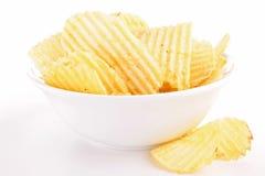 Potato chip. Bowl of crispy potato chip stock photos