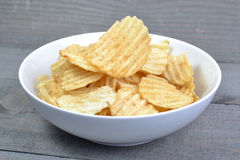 Potato Chip On Bowl Stock Image