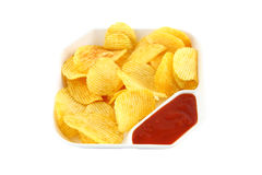 Potato chip with chilli sauce plate Stock Photo
