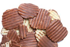 Potato chip cover with Chocolate isolated on white Royalty Free Stock Images