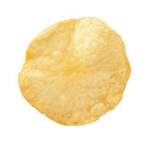 Potato Chip isolated. A single Potato Chip isolated on a white background. A salty snack associated with parties, and watching sporting events. It falls into Royalty Free Stock Photo