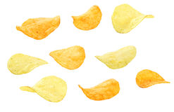 Potato chip. Isolated on white Royalty Free Stock Images