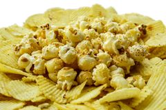 Potato chip and popcorn. Are unhealthy snack but very delicious Stock Image