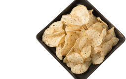 Potato chip with seaweed isolated. On white Royalty Free Stock Photo