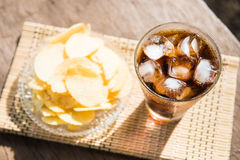 Potato chip and sparking water Stock Images