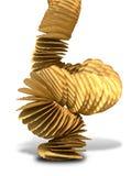 Potato Chip Stack Falling Stock Photo