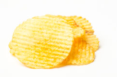 Potato chip. On white background royalty free stock photography
