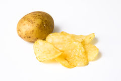 Potato chips. Isolated pile of unhealth snack - potato chips royalty free stock photos