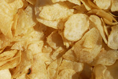 Potato chips. Closeup of a bowl of potato chips Royalty Free Stock Images