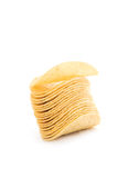 Potato chips. Isolated on the white background royalty free stock photography