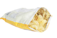 Potato chips. Bag of potato chips isolated on white background Royalty Free Stock Photo