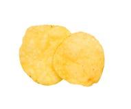 Potato chips. Two crispy potato chips. Isolation Royalty Free Stock Image