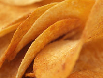 Potato Chips. Close up of curvy potato chips Stock Images