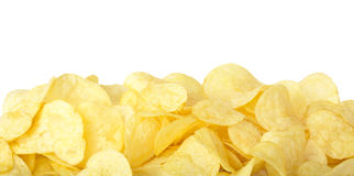 Potato chips. Border isolated on white, clipping path included Stock Image