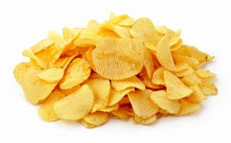 Potato Chips. Pile of potato chips on white background Stock Images